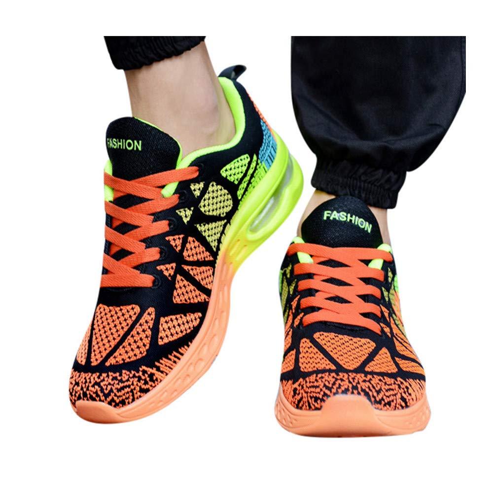 Mens Walking Sneakers Slip on Lightweight Mesh Breathable Running Shoes Outdoor Tennis Slip on Shoes (US:10.5, Orange)