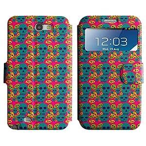 LEOCASE Dark Skull Funda Carcasa Cuero Tapa Case Para Samsung Galaxy Note 2 N7100 No.1002426