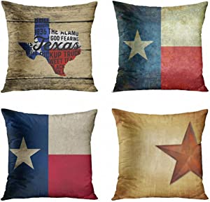 ArtSocket Set of 4 Throw Pillow Covers Texans All Things Texas Pickup Truck Boots Cowboy Western Red The Decorative Pillow Cases Home Decor Square 18x18 Inches Pillowcases