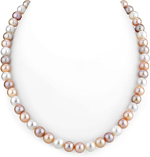 """Charming 7-8mm Pink Akoya Cultured Pearl Necklace 18/"""" AAA"""