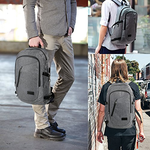 """Business Laptop Backpack, Slim Anti Theft Computer Bag, Water-resistent College School Backpack, Eco-friendly Travel Shoulder Bag w/ USB Charging Port Fits UNDER 17"""" Laptop & Notebook by Mancro (Grey)"""