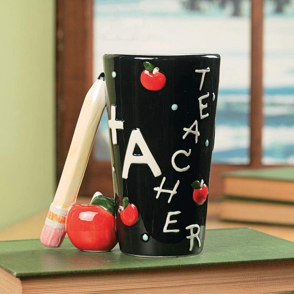A+ Teacher Mug with Pencil Handle - Ceramic - Teacher Gift and Classroom Supplies