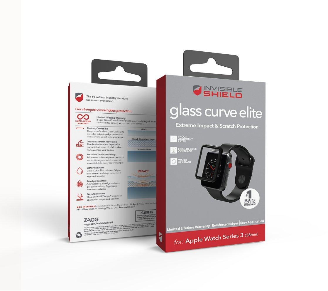 ZAGG InvisibleShield Glass Curve Elite - Extreme Impact and Full Screen Scratch Protection for Apple Watch Series 3 (38mm) - Black by ZAGG (Image #2)