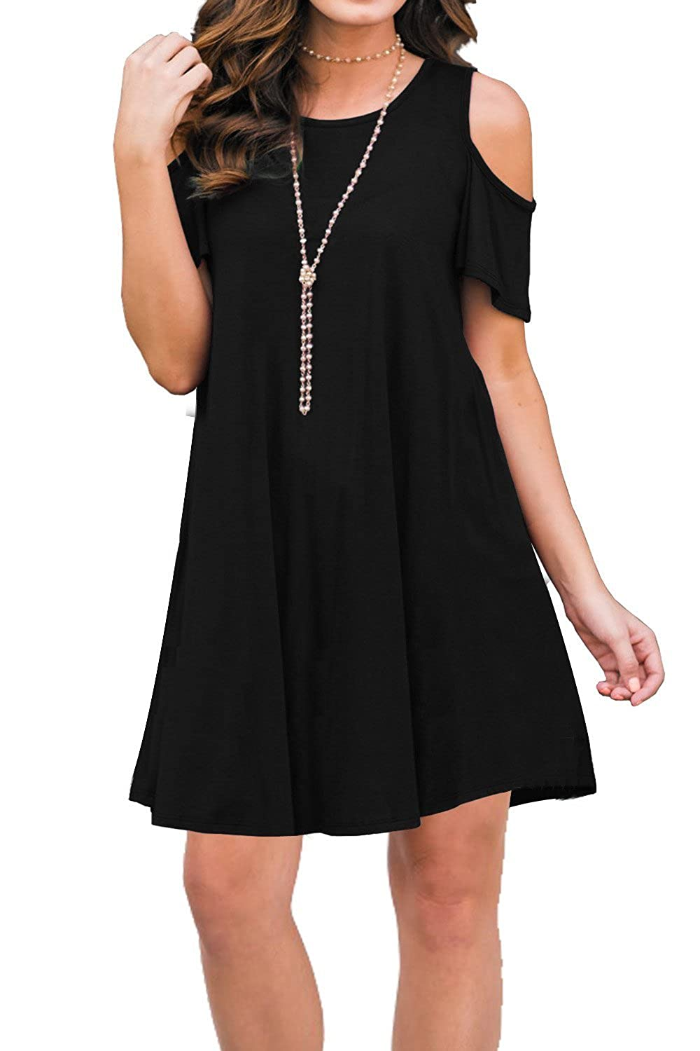 Unidear Womens Cold Shoulder Tunic Top Short Sleeve Round Neck Casual T Shirt