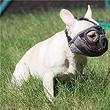 JYHY Short Snout Dog Muzzles- Adjustable Breathable Mesh Bulldog Muzzle for Biting Chewing Barking Training Dog Mask,Grey(Eyehole) S