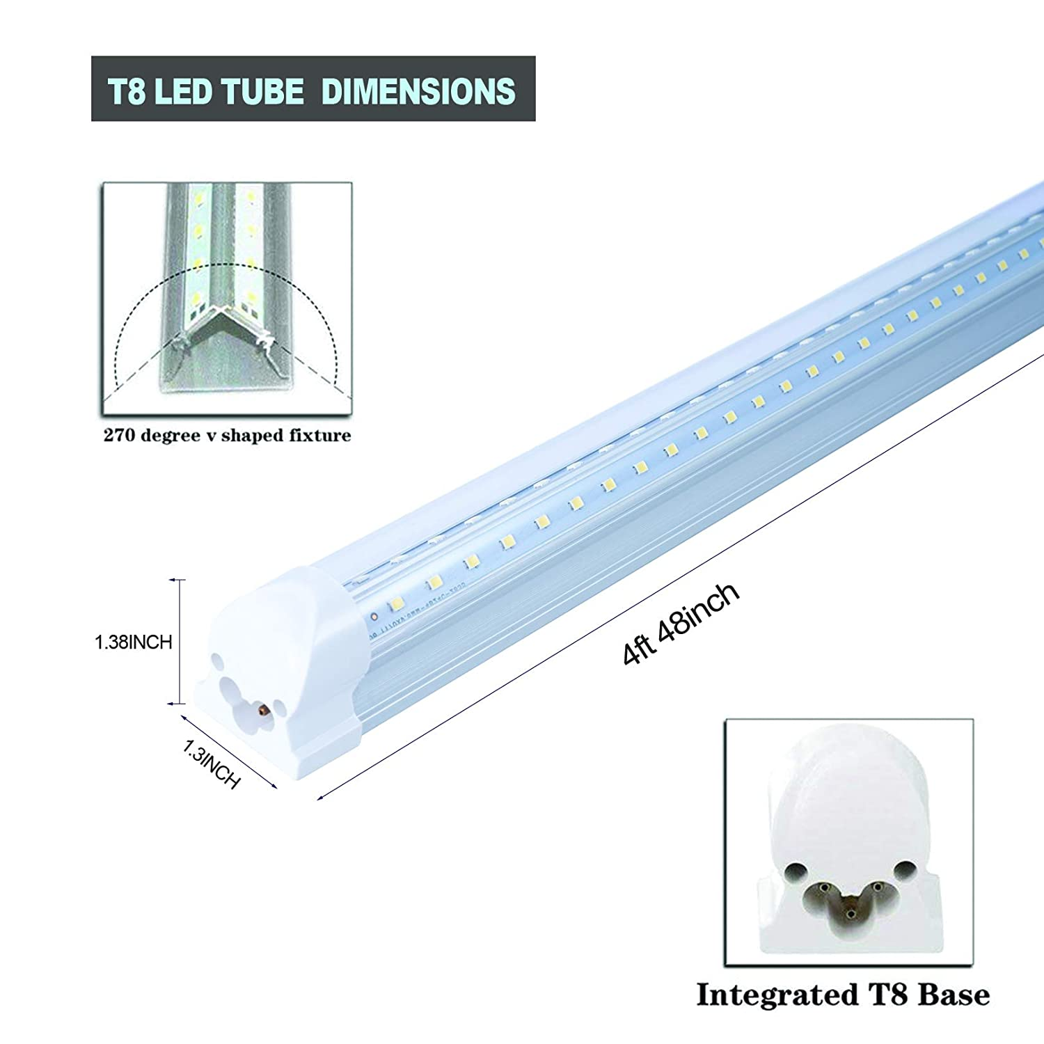 Utility Linkable 4 Foot Under Cabinet Lamp White Daylight 6000k 5 Years Warranty Garage Lights Indoor Shop Lighting with On//Off Switch Cable 12 Pack T8 Led Integrated V Shaped 4FT 40W Tube Light