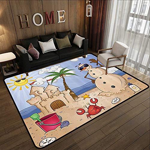 Throw Rugs,Children,Sand Snowman with Castle Crab Seashell on Tropical Beach Enjoying Sun Cartoon Print,Multi 78.7