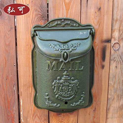 - CIV006 French Victorian Style Vintage European High-grade Cast Iron Crafts Retro Old Style Mailbox Newspaper Boxes Wall Mural Queen Size Verde Green Aristocracy Color