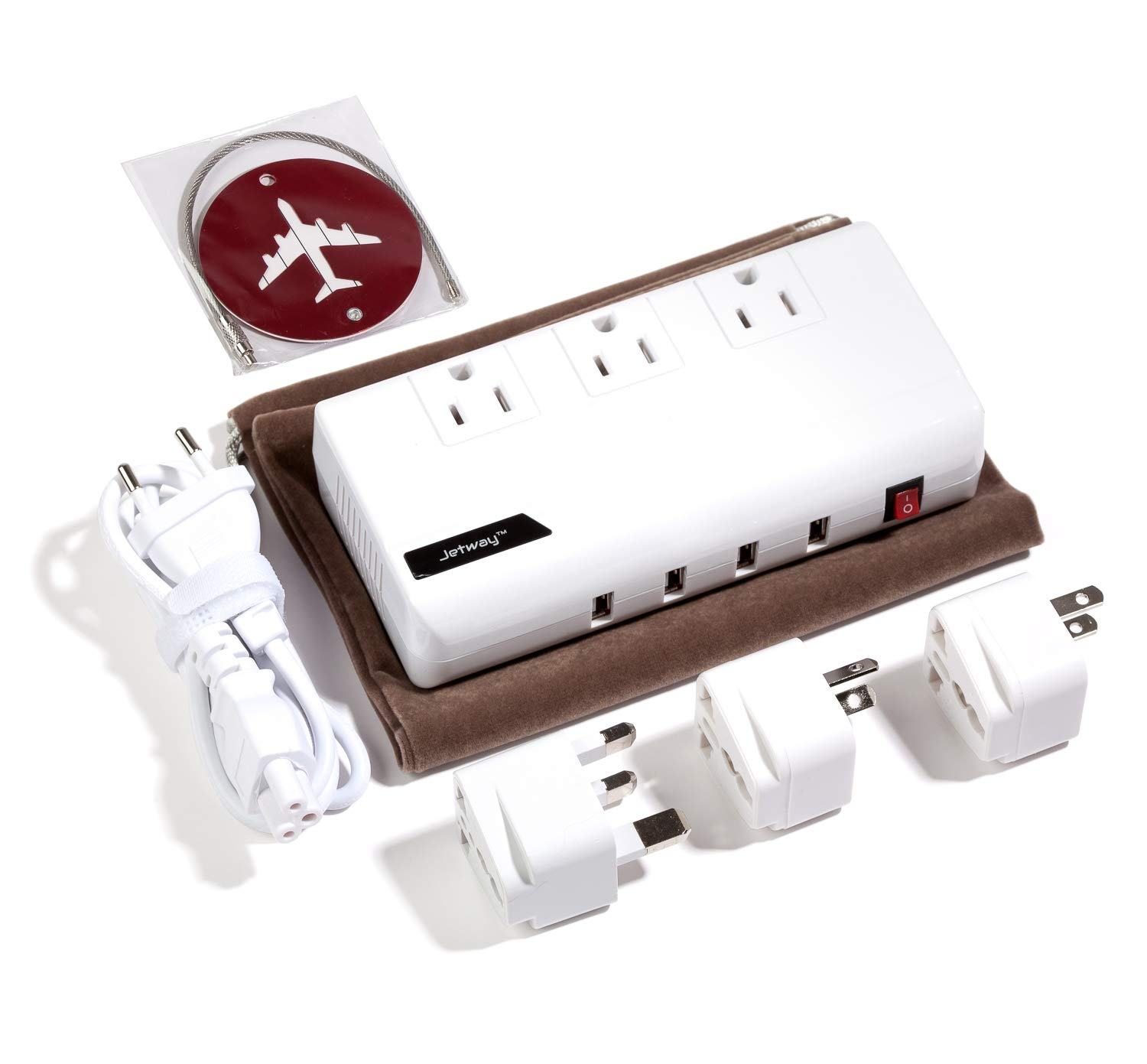 Best International Travel Adapter and Voltage Converter 200 Watts - Quiet Mode - 4 USB - Bonus Luggage TAG & CASE - 220V to 110V Travel Converter for UK/AUS/EU/Asia/Africa Guarantee by Jetway Travel Gear (Image #2)