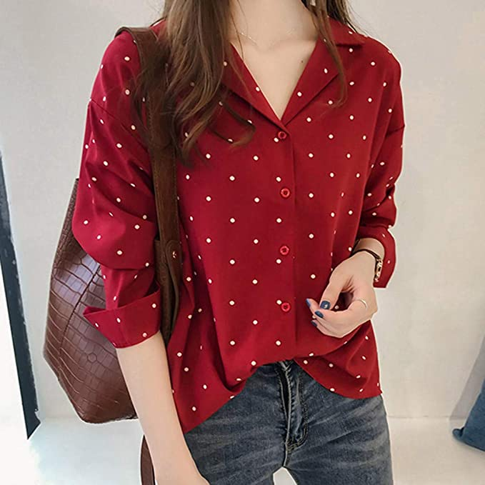 YKARITIANNA Womens 2019 New Casual V Neck Cuffed Sleeves Solid Chiffon Blouse Top at Amazon Womens Clothing store: