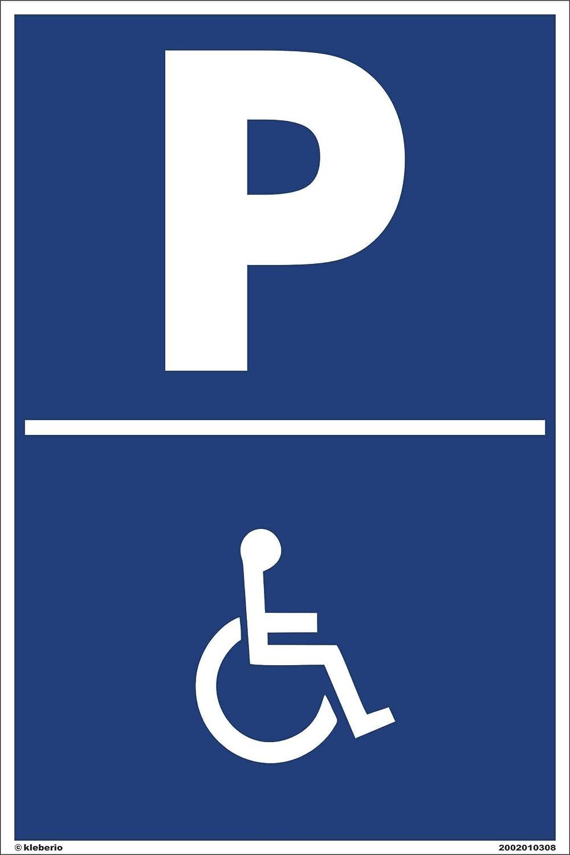 Kleberio Panneau de signalisation de parking pour handicapés an plaques d'aluminium 20x 30cm