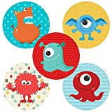 Little Monster Sticker Labels - Kids Boy Girl Birthday Baby Shower Party Favor Supplies - Set of 50