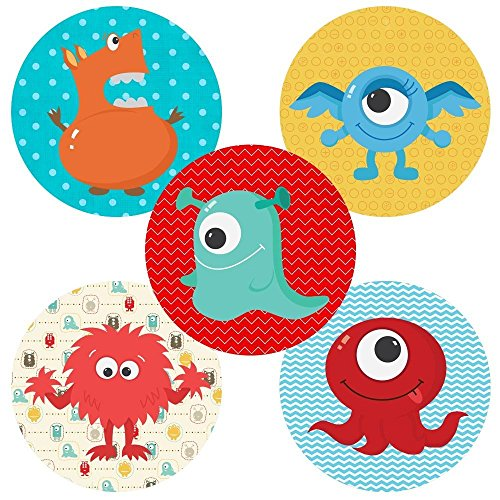 Little Monster Sticker Labels - Kids Boy Girl Birthday Baby Shower Party Favor Supplies - Set of 50 by Adore By Nat