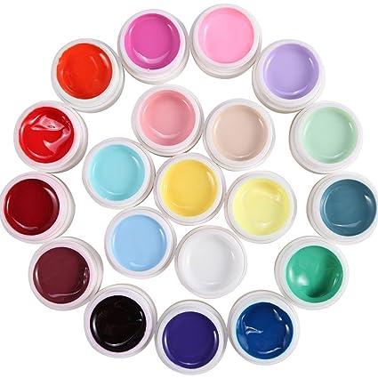 Lote de 20 colores Gel uv monofase para uñas gama falsos tip manicura batidos.