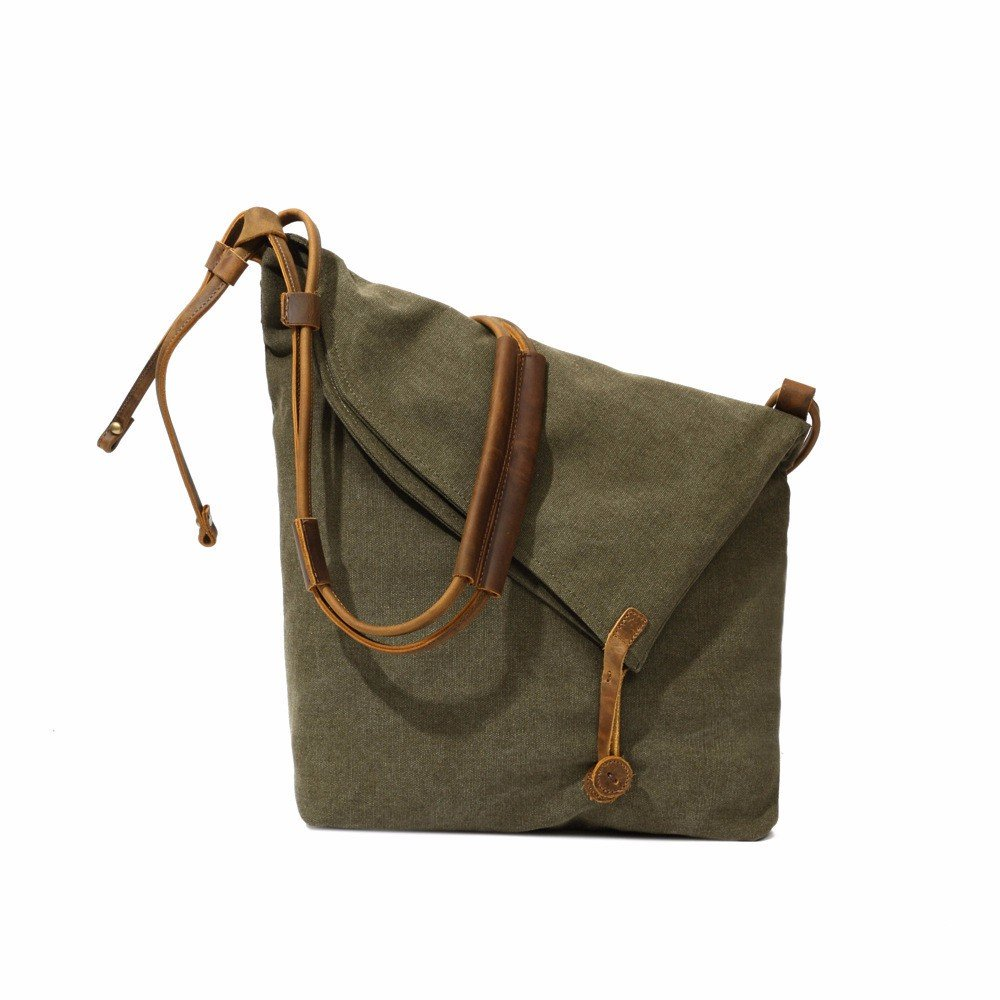 YDIUDIU Canvas Tasche retro literarischen Stoff Schulter diagonale Leinwand mit Leder Tasche für Damen, army Grün
