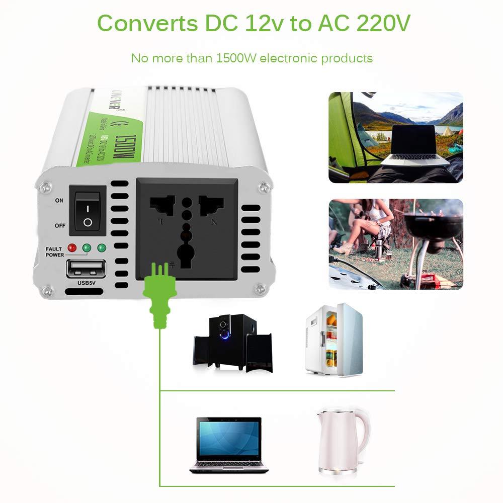 picco ONEVER 2000W Car Power Inverter convertitore DC 12V a 220V AC Converter Power Supply Onda di seno modificata di alimentazione con porta USB//Universal Plug//Intelligent Fan 2400W