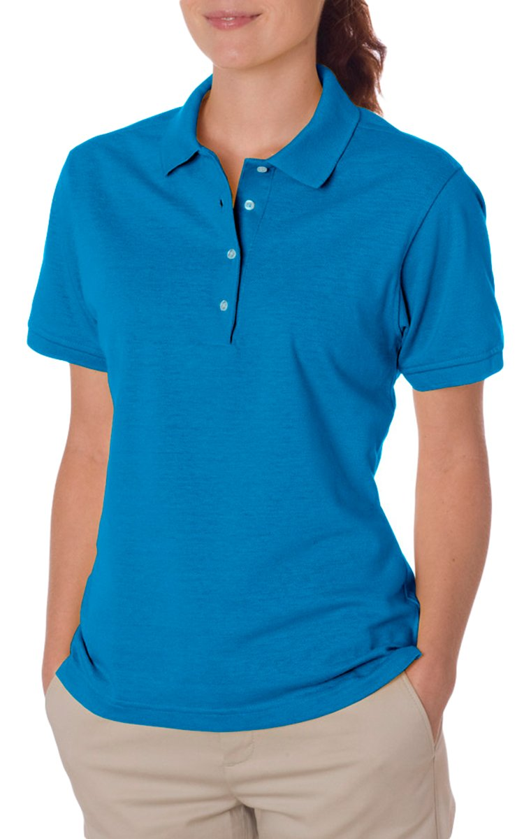Jerzees womens 5.6 oz. 50/50 Jersey Polo with SpotShield(437W)-CALIFORNIA BLUE-2XL