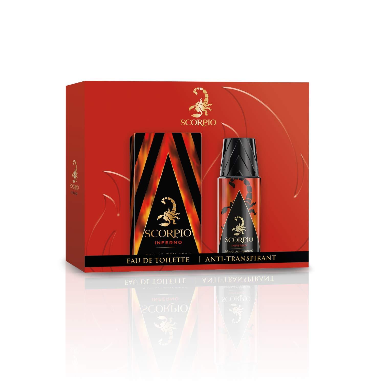 Scorpio Coffret 2 Produits Inferno Eau de Toilette Flacon 75 ml/Dédodorant Atomiseur 150 ml Coffret cadeau Coffret Noel
