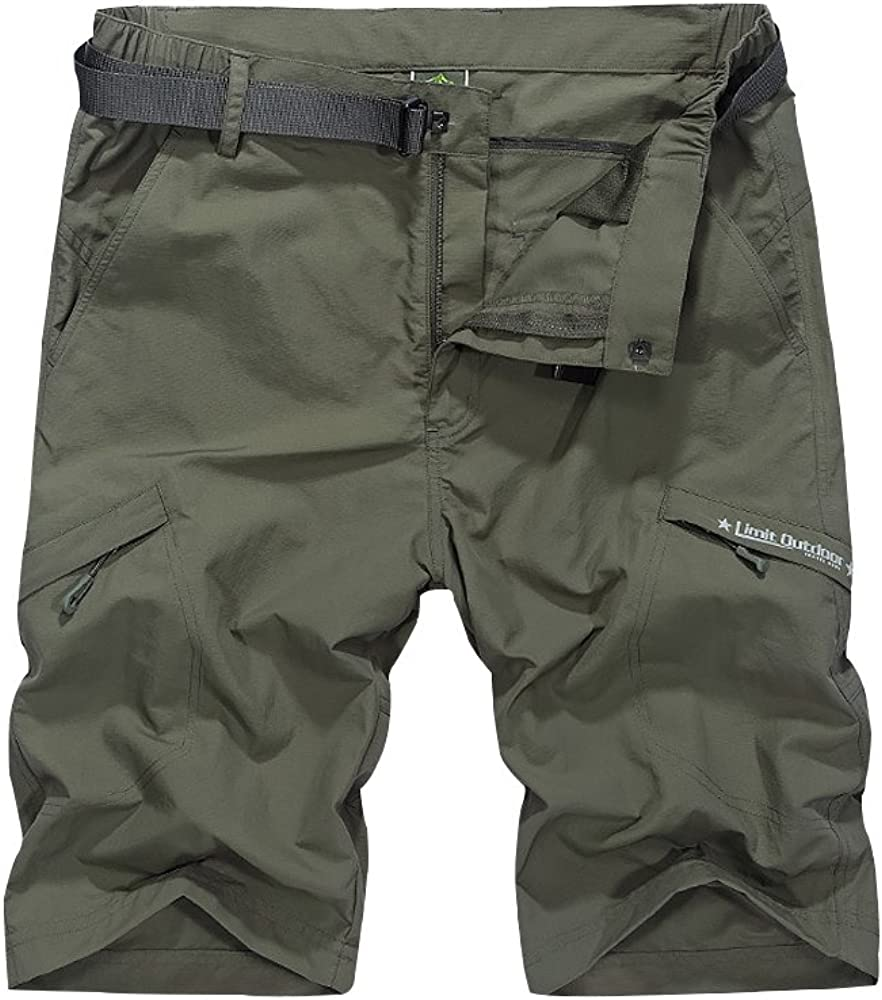 Men's Outdoor Casual Expandable Waist Lightweight Water Resistant Quick Dry Cargo Fishing Hiking Shorts,5516,Army,US 36