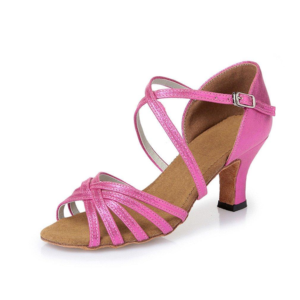 BYLE Leder Sandalen Riemchen Samba Modern Jazz Dance Schuhe Latin Dance Schuhe Latin Dance Schuhe Weiblichen Erwachsenen Weichen Boden mit Hohen Absätzen Pu-Pulver Hoch 6 5 cm