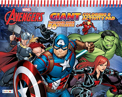 Bendon Marvel's The Avengers Giant Spiral-Bound 80-Page Coloring and Activity Floor Pad Book with Over 50 Stickers