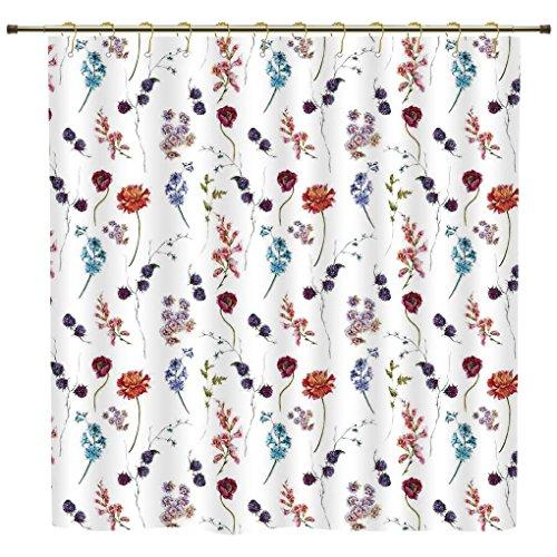 iPrint Shower Curtain,Flower,Vintage Watercolor Blue Cushion
