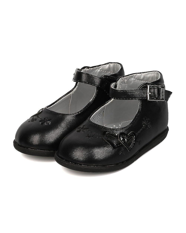 Infant Girl//Toddler Girl FJ94 Leatherette Round Toe Heart Decor Ankle Strap Flat