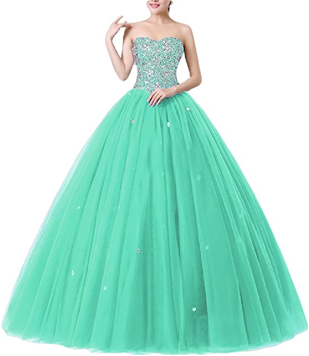 230fbfa0a733 Amazon.com: OYISHA Women's Strapless Beaded Ball Gown Prom Tulle  Quinceanera Dresses 24QC Aqua 2: Clothing