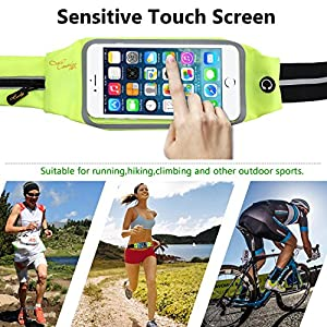 Causalyg Adjustable Running Belt Waist Pack For iPhone 7,7 Plus,6s,6s Plus,6,6 Plus, Samsung Galaxy J7 S5 S6 S7 S8, Edge - Touchscreen Compatible - Waterproof Sweat-proof Reflective Workout Belt