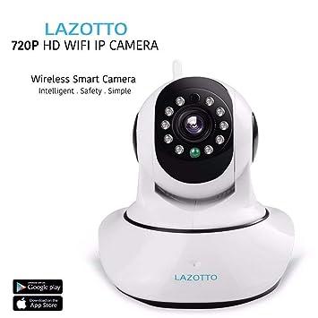 LAZOTTO HD Camara di vigilanza IP WiFi inalámbrico, Bebé, Mascotas, Perros, Casa