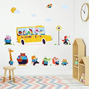ufengke Animals School Bus Wall Stickers Owl Giraffe Wall Decals Art Decor for Kids Bedroom Baby Nursery