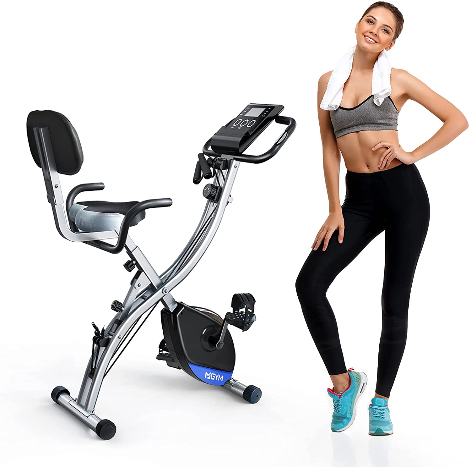 MGYM Folding Exercise Bike, Magnetic Resistance 3-in-1 Upright Recumbent Stationary Fitness Bikes 300lb Capacity with Arm Workout Band Extra Large Seat Cushion, Home Gym Cardio Training Equipment for Men Women