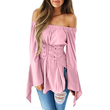 HOSOME Women Top Women Sexy Flare Long Sleeve Tops Pure Color Off Shoulder Bandage Slim Blouse