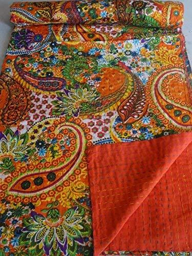 Tribal Asian Textiles 90''x108'' Indian Ikat Kantha Quilts Handmade Queen Size Blanket 100% Cotton Fabric Decor Throw Bedspread Gudari 1017