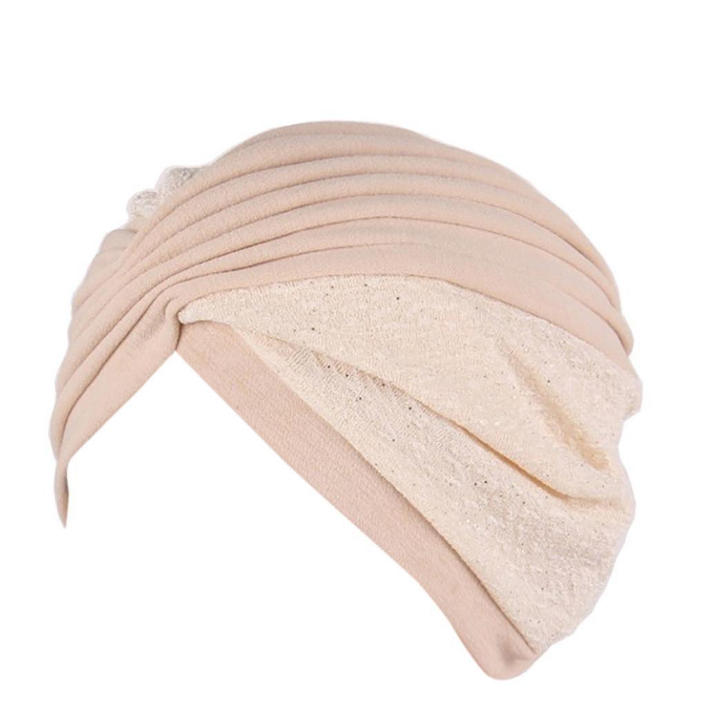 Compia Women Wrap Cap India Hat Muslim Ruffle Chemo Hat Beanie Scarf Turban Head