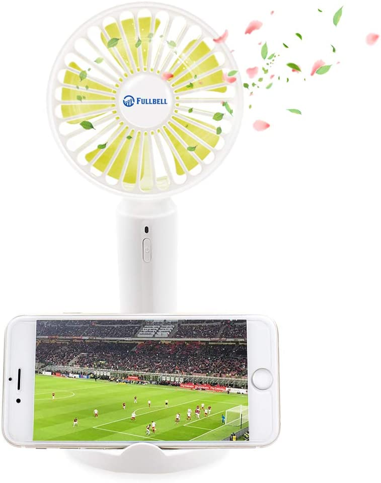 Office Blue Bedroom Travel and Outdoor Handheld Fan,SkyWattz Mini Small Portable USB Powerful Desktop Rechargeable Fan with Phone Holder,2000mAh Battery 3 Speed,Sponge Tablets Smell for Home