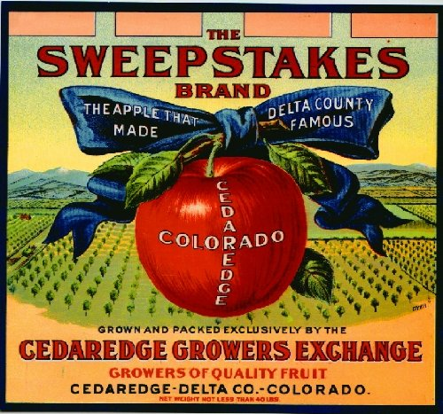 Apple Crate Label Art - A SLICE IN TIME Cedaredge Delta County Colorado The Sweepstakes Apple Fruit Crate Label Art Print