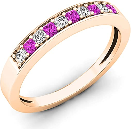 Size-7 G-H,I2-I3 1//8 cttw, Diamond Wedding Band in 10K Pink Gold