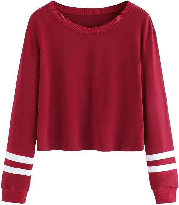 db76757a2233 SweatyRocks Women s Striped Long Sleeve Crewneck Crop Top Sweatshirt  Burgundy XS