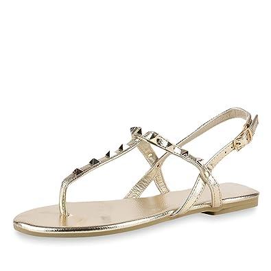 SCARPE VITA Damen Sandalen Zehentrenner Nieten Metallic Schuhe Flats 165120 Gold Nieten 37 kUrV9dU
