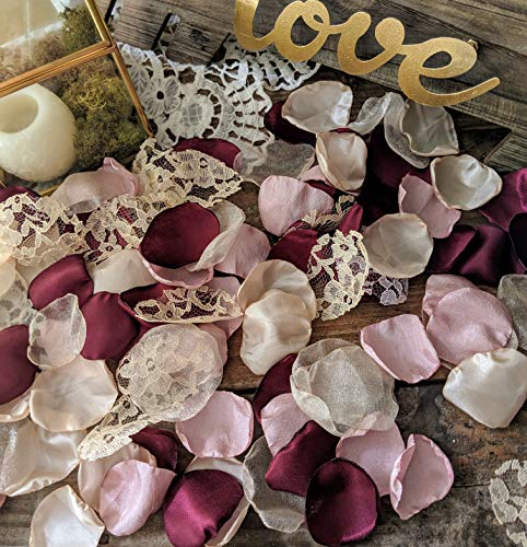 - Satin Rose Petals For Wedding, Wedding Confetti, Aisle Rose Petals, Flower Girl Petals,Burgundy, Blush and Beige Champagne