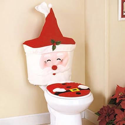 Decoraciones de Navidad Feliz Santa tapa de inodoro y depósito de agua, toalla de papel