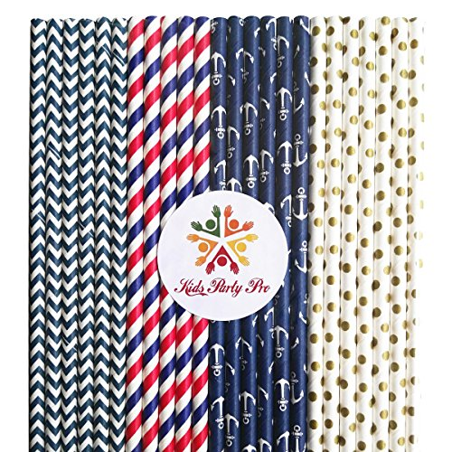Free Shipping 100 pcs Mixed Nautical Party Paper Straws, Navy Red Striped Navy Chevron Gold Swiss Dot Beverage Paper Drinking Straws Bulk, Patriotic 4th of July Wedding Birthday Party Cake Pop Sticks