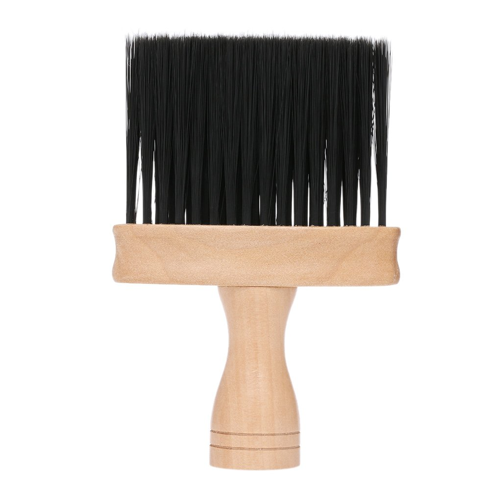 Anself Pro Neck Face Duster Brush Thick Hair Barber Cleaning Hairbrush Soft Wooden Handle Hair Sweep Brush W7099-3LFX6N