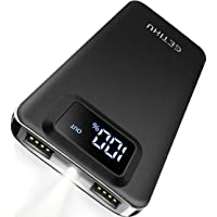 GETIHU Portable Charger, LED Display 10000mAh Power Bank, 4.8A 2 USB Ports High-Speed Battery Backup with Flashlight, Compatible with iPhone Xs X 8 7 6s Plus Samsung Galaxy Note 9 S9 iPad Tablet etc.