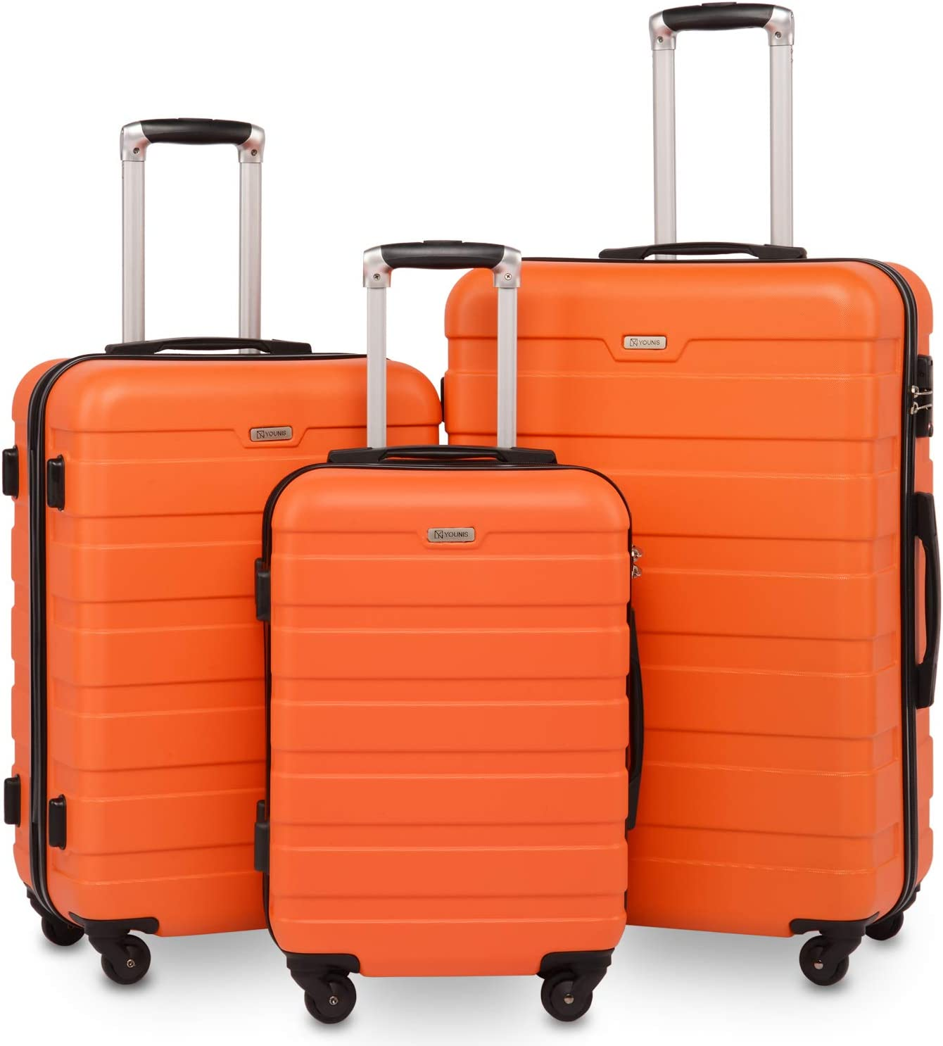 YOUNIS Luggage Suitcase 3 Piece Set, Expandable Handle, Hardside Lightweight Spinner Suitcase, TSA Locks Lightweight Spinner Wheels, Orange