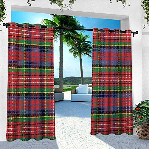 Plaid, Porch Curtains Outdoor Waterproof, Caledonia Scottish Traditional Pattern Tartan Motif Abstract Squares Ornate Quilt, Set for Patio Waterproof W72 x L96 Inch Multicolor