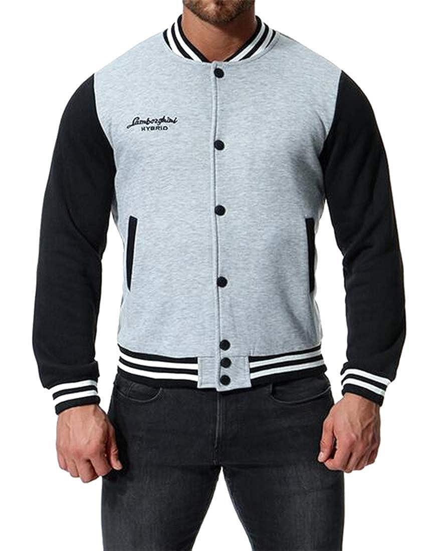 Fensajomon Mens Warm Baseball Jacket Bomber Coat Button Up Regular Fit Pullover Sweatshirt