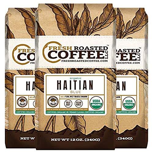 Organic Haitian Blue Coffee, 12 oz. Whole Bean Bags, Fresh Roasted Coffee LLC. (3 Pack)