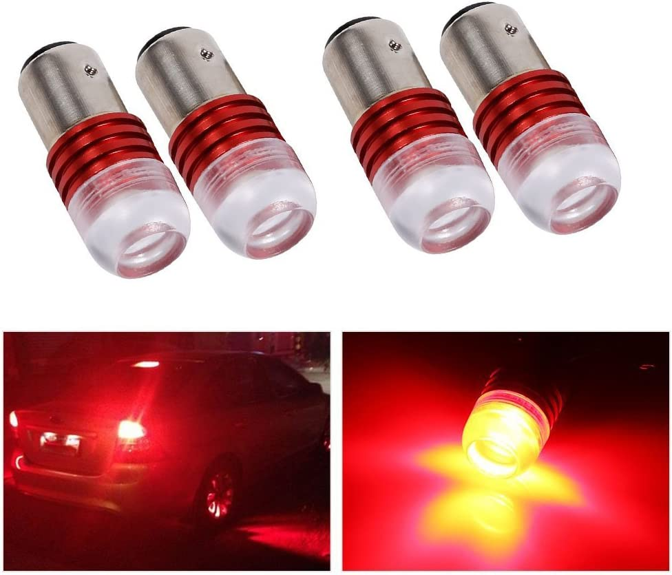 Suuonee Car Tail Brake Light 2Pcs DC 12V White 1157 2357 Strobe Flashing LED Projector Bulbs